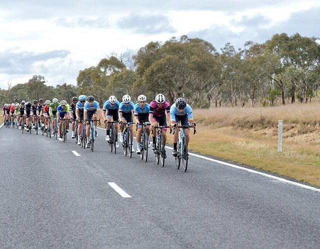 Jesse Coyle of mobiusfutureracing driving the peloton at the Graftonhellip